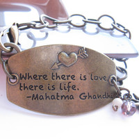 Stamped Metal and Chain Bracelet, Brass, Metal Bracelet, Chain Bracelet, Quote bracelet