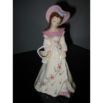 Florence Ward California Bisque Pottery Female Figure Floral Hand Decorated