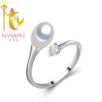 NYMPH Pearl Ring Real Fresh Water Pearl White Ring Wedding Brands Trendy Party Gift For Girl Women R001