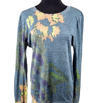 Blue Multi-Color Silk Blend Sweater Size:M