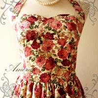 Amor Vintage Inspired Romantic Cream Red and Pastel by Amordress