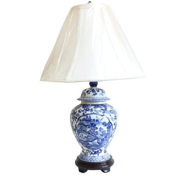 """Blue and White Blue Willow Porcelain Temple Jar Table Lamp 21"""""""