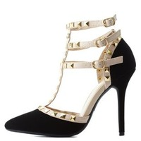 Black Studded Strappy Pointed Toe Pumps by Charlotte Russe