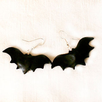 Bat earrings halloween black earrings animal earrings polymer clay