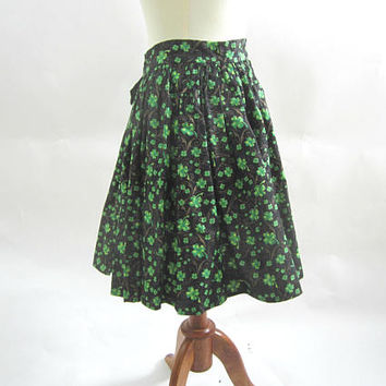 Square Dance Apron Wrap Around Style St Patrick's | Black Green Shamrock Apron / Overskirt Square Dance Sz S with Man's Tie  | Sq Dance