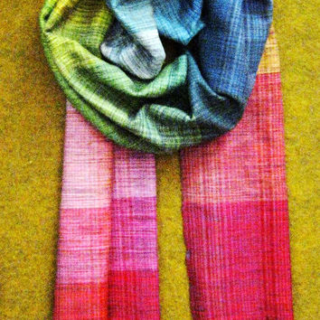 Womens Scarves. Autumn accessories. Gift For Her. Handmade Woven Scarf Pink Purple Green Blue. Accessories. Three Snails. Free Shipping!