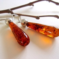 Amber Sterling Silver Drop Earrings, Silver Ball, Vintage