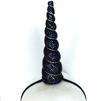Black Sparkle Unicorn Horn Headband