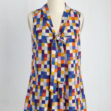 Miami Moments Top in Mosaic | Mod Retro Vintage Short Sleeve Shirts | ModCloth.com