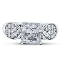 Sterling Silver Princess Cubic Zirconia Solitaire Ring w/ Side Stones #r291