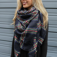 Castle Walls Navy Classic Plaid Raw Edge Blanket Scarf