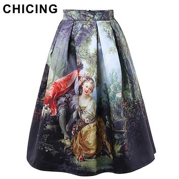 CHICING 50s Princess Royal Vintage Retro Fantasy Oil Painting Floral Print High Waist Midi Skirt Circle Saia Femininas A1509028
