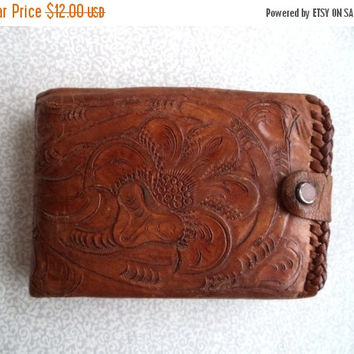 ON SALE Hand tooled leather wallet/ vintage Clifton's hand tooled wallet/ brown leather folding wallet with tooled flower