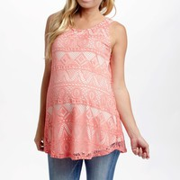 Peach Eyelet Lace Maternity Tank Top