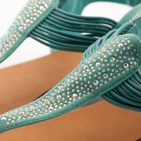 Sparkle Rhinestone Sandal with Elastic Straps - Mint