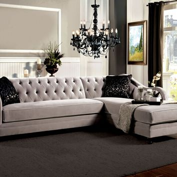 2 pc Rotterdam collection warm gray bella fabric upholstered sectional sofa with tufted back