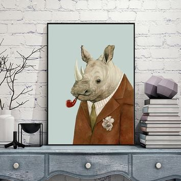 Uncle Rhino Animal Portraits Print Oil Painting Canvas Picture Wall Art for Home Decor 5 Different Sizes