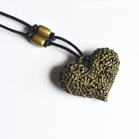 Floral Heart Necklace.Sweetheart Cotton Cord. Nature Inspired Jewelry.