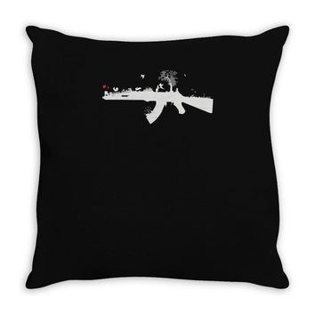 banksy style ak47 art   funny Throw Pillow