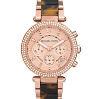 Michael Kors Parker Mid-Size Rose Golden Stainless Steel and Tortoise Acetate Parker Chronograph Glitz Watch - Michael Kors
