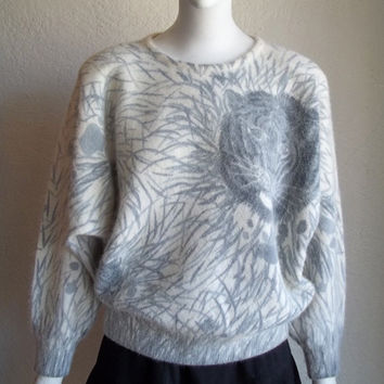 Vintage 80s Slouchy Graphic Tiger Animal Print Knit Dolman Sleeve Pullover Sweater M L