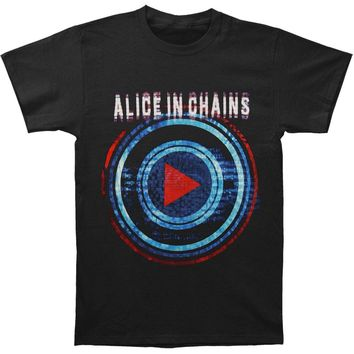 Alice In Chains Men's  Play Button Tour Slim Fit T-shirt Black Rockabilia