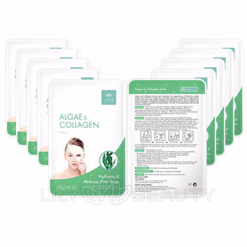 Pack of 10 - ALGAE & COLLAGEN Beauty Firming Moisturizing Facial Mask by JUNE LILY
