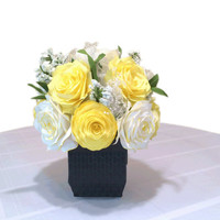 Yellow Peony and Rose centerpiece, Wedding decor, White Reception decor, Baby shower decor, bridal shower decor, Bridal table floral decor