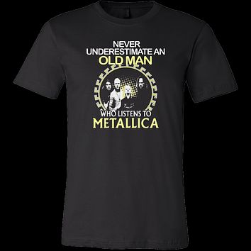 Never underestimate an old man who listens to Metallica T-shirt