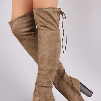 Corset Lace-Up Chunky Heeled Suede Over-The-Knee Boots