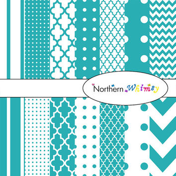 Digital Scrapbooking Paper Pack – Teal Blue paper in stripes, chevron, polka dot, and quatrefoil – instant download – CU OK