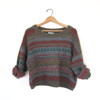 vintage Benetton sweater. Chunky knit sweater. Cropped sweater with buttons.