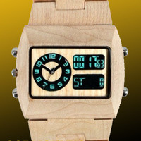 Wooden Watch   Christmas Delivery! Eco-Friendly Maple Digital & Analog Wood Watch - All Wood, custom made for our store