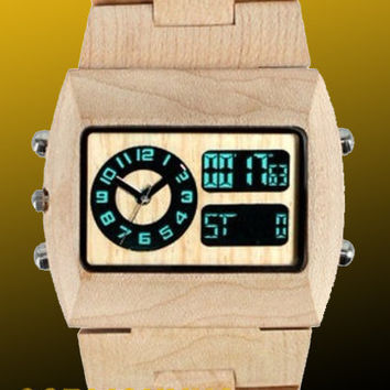 Wooden Watch | Christmas Delivery! Eco-Friendly Maple Digital & Analog Wood Watch - All Wood, custom made for our store