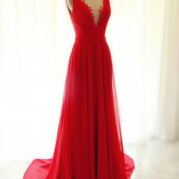 Long Red Prom Dress, Lace Red Evening Dress