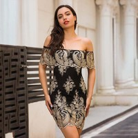 Embroidery Off Shoudler Short Sleeves Short Bodycon Party Dress
