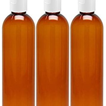 MoYo Natural Labs 8 oz Travel Bottles, Empty Travel Containers with Flip Caps, BPA Free PET Plastic Squeezable Toiletry/Cosmetic Bottles (3 pack, Amber)
