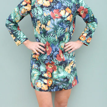Long Sleeve Shift Dress in Night Tropics Handmade by Laura Ralph