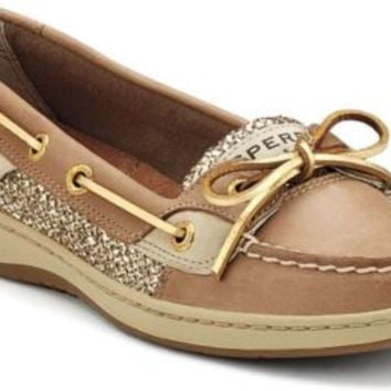 19849de5873e Sperry Top-Sider Angelfish Slip-On Boat Shoe Linen/GoldGlitter, Size 9.5S  Women's Sho