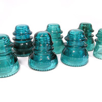 Vintage Blue Hemingray Insulators, Instant Collection, Set of 7