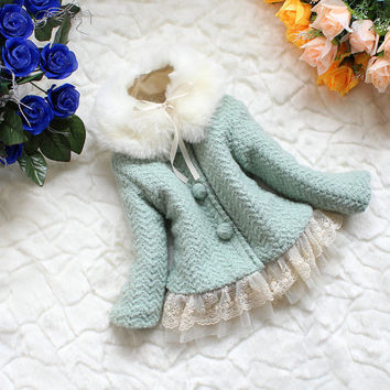 NEW YEAR CHRISTMAS baby girl gown autumn spring winter coat kid pink  blue coat gown 18m-5Y