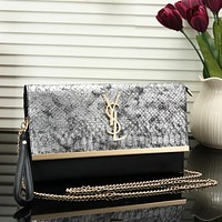 YSL Fashion New Snake Texture Print Chain Leather Personality Shoulder Bag Crossbody Women
