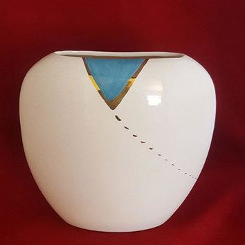 Flat Oval Vase with Aqua and Gold Accents