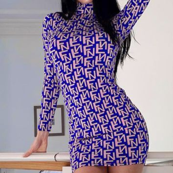 The new dress is selling sexy round collar slim letter wrap skirt