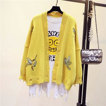 Spring Autumn Embroidered Broken Hole Loose Knitwear Fashion All Match Women Knitted Cardigan Single-Breasted Sweater Coat