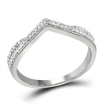 10kt White Gold Women's Round Diamond Chevron Band Ring 1/8 Cttw - FREE Shipping (US/CAN)