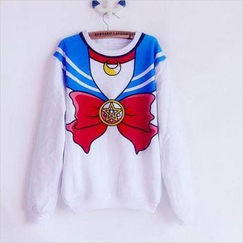 The new 2018 Sailor Moon shirt Harajuku kawaii cute fake imitation top role-playing sailor costume free shipping SALMOPH