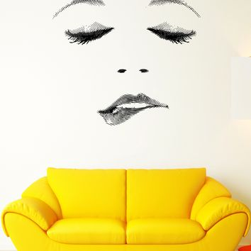 Wall Decal Sexy Girl Face Emotion Passion Lips Desire Vinyl Decal Unique Gift (ed365)