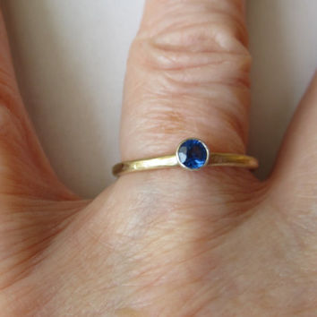 Ring 14K Recycled Yellow and White Gold Blue Sapphire Engagement Ring Stacking Ring Size 7 Fine Jewelry Minimalist Wedding Friendship