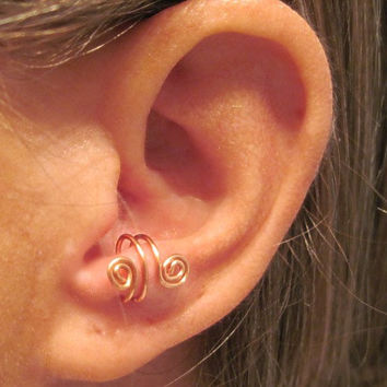 """No Piercing """"Spiraling"""" Ear Cuff for Anti Tragus 1 Cuff - Copper or 17 Color Choices"""